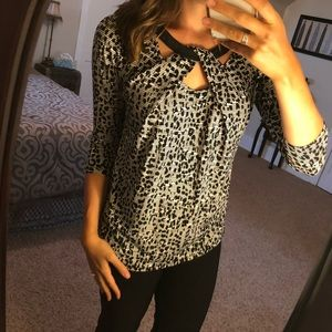 [Cato] Faux Leather Animal Print Blouse